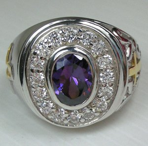 CHRISTIAN BISHOP AMETHYST STERLING 925 SILVER MENS RING