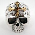 14K GOLD CROSS SKULL STERLING SILVER MENS RING Sz 7.5