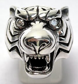 DIAMOND TIGER HEAD 925 STERLING SILVER RING Sz 14 NEW