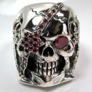 RED RUBY PIRATE SKULL STERLING SILVER RING Sz 10.25 NEW
