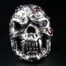 DIAMOND SKULL HEAVY STERLING SILVER MENS RING Sz 14