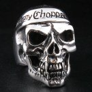 CHOPPER MOTORCYCLE SKULL HEAVY 925 STERLING SILVER MENS BIKER RING