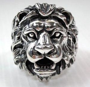 LION LEO BIG 925 STERLING SILVER MENS RING Sz 15.5 NEW