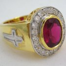 CHRISTIAN YELLOW GOLD STERLING SILVER BISHOP MENS RING
