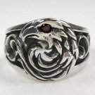 GARNET AMERICAN EAGLE STERLING SILVER MENS RING Sz 13