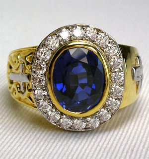 CHRISTIAN YELLOW GOLD STERLING SILVER BISHOP RING NEW