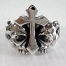 FLAME SKULL CROSS STERLING SILVER GOTHIC RING