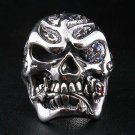 SKULL AND ROSE LOVE .925 STERLING SILVER MENS RING NEW
