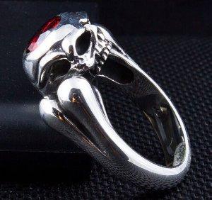 GARNET SKULL BONE 925 STERLING SILVER DESIGNER RING