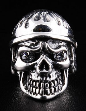 ARMY SOLDIER US MILITARY SKULL STERLING SILVER RING NEW