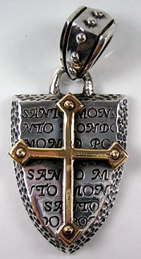 14K YELLOW GOLD CROSS STERLING SILVER MEN'S PENDANT NEW
