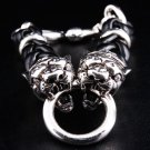 DIAMOND TIGER 925 SILVER LEATHER MENS CHAIN BRACELET