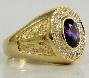 14K YELLOW GOLD STERLING SILVER CHRISTIAN BISHOP RING