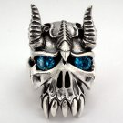 SAPPHIRE HORN BISON DEVIL STERLING SILVER MEN RING 15