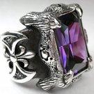 Gothic Dragon Claw Amethyst Heavy .925 Sterling Silver Mens Ring
