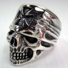 Chopper Motorcycle 925 Sterling Silver Iron Cross Bandana Skull Biker Ring