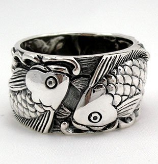 Japanese Carp Koi Fish Tattoo 925 Sterling Silver Mens