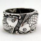 Japanese Carp Koi Fish Tattoo 925 Sterling Silver Mens Wedding Bands Ring