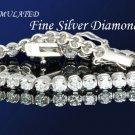 FLAWLESS 9.8CT DIAMOND SILVER TENNIS BRACELET