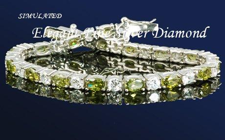 BOLD 16.5 PERIDOT W/ DIAMONDS SILVERTENNIS 7 1/4