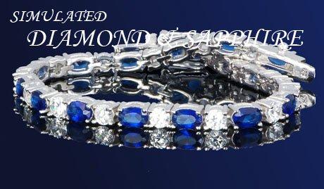 BOLD 16.5 BLUE SAPPHIRE W/ DIAMONDS SILVERTENNIS 7 1/4