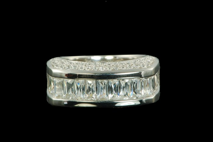 RUSSIAN STONE HALF ETERNITY RING 6 or 7