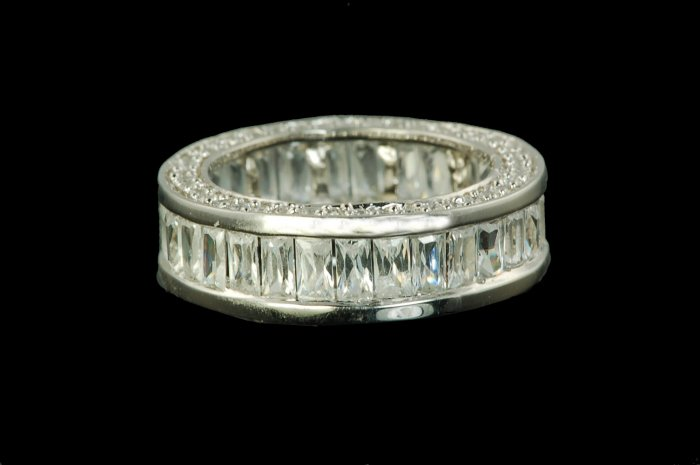 RUSSIAN STONE BAGUETTE ETERNITY RING BAND ANNIVER 6 & 7