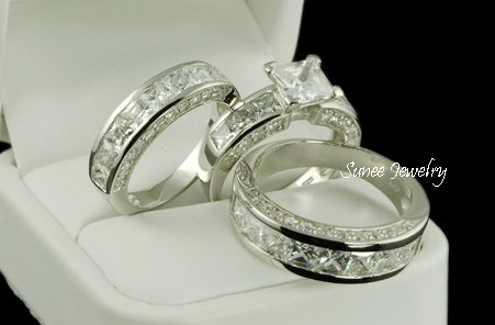 His & Her 3pcs Matching Engagement Wedding Ring Set sz 4-11 in sterling silver