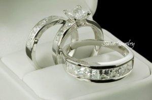 Trio Bridal Ring Set sz 3-12 in sterling silver