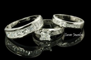 LADIES + MENS BRIDAL ENGAGEMENT BAND TRIO RING SET