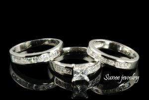 3.0ct 3pcs Princess Cut Engagement Wedding Ring Set in Sterling Silver sz 5-12