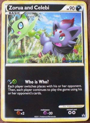 Pokemon Zorua and Celebi Jumbo Size Foil Promo Card NM