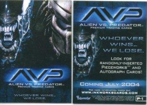 AVP: ALIEN VS. PREDATOR (2004) #P1 PROMO CARD FREE SHIPPING
