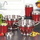 Set Of 2 Red Colanders Jeweltone Kitchen Necessities