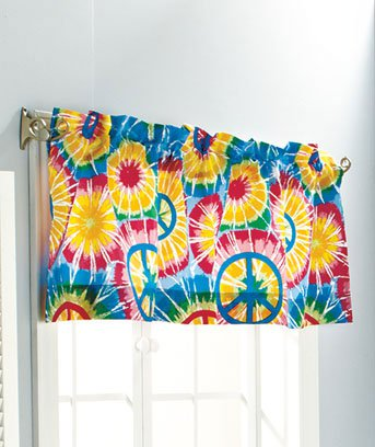 Peace sign bath collection window valance 18 x 60 for 18 x 60 window