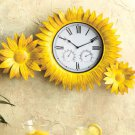 Metal Battery Operated Sunflower Clock & Thermometer