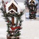 "New 16"" Cardiinal Rustic Outdoor Garden Solar Birdhouse w/ Faux Greenery & Snow"