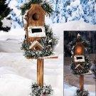 "New 25"" Townhouse Rustic Outdoor Garden Solar Birdhouse w/ Faux Greenery & Snow"