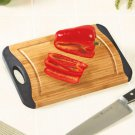 New Black Kitchen Bamboo Cutting Board w/ Nonslip Silicone & Handle