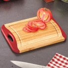 New RED Kitchen Bamboo Cutting Board w/ Nonslip Silicone & Handle