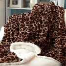 New Giraffe Plush Animal Print Sherpa Throws