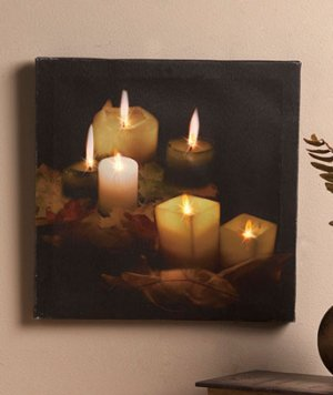 Battery operated Candlelight Twinkling LED Canvas Wall Art
