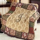 "New 50"" x 60"" Elegant Acrylic Monogramed "" J "" Tapestry Throw"