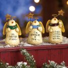 New Set of 3 Holiday Christmas Snowmen Snow Angels with Stars