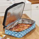 New Blue Snowflake Christmas Holiday Expandable Hot / Cold Food Carrier