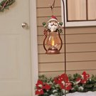 New Holiday Christmas Santa Solar Lantern Stake