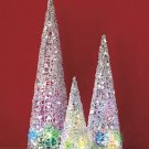 New Set of 3 Silver Battery Operated Color-Changing Christmas Trees