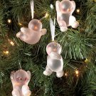 New Set of 4 Snowmen Frosted Glitter Ornaments