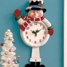 New Battery Operated Light & Sound Christmas Snowman Clock