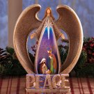 New Cold Cast Ceramic Lighted Nativity Christmas Holiday Angel